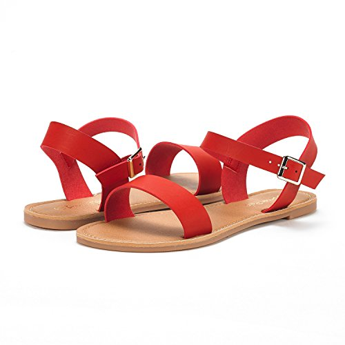 Red New Flat Sandals Cute Strap Band Open One PAIRS DREAM Women's Summer Toes Flexible Ankle O6RaPxw