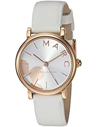 Women's Classic' Quartz Stainless Steel and Leather Casual Watch, Color:White (Model: MJ1620)