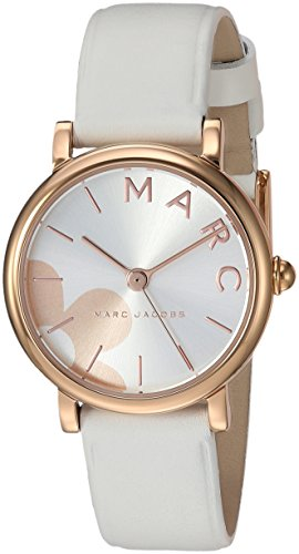 'Classic' Quartz Stainless Steel and Leather Casual Watch, Color:White (Model: MJ1620) ()
