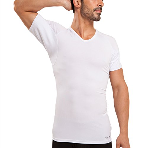 Mens V-neck Silk Sweater - Ejis Men's Sweat Proof Undershirt, V Neck, Anti-Odor Silver, Micro Modal, Sweat Pads (Large, White)