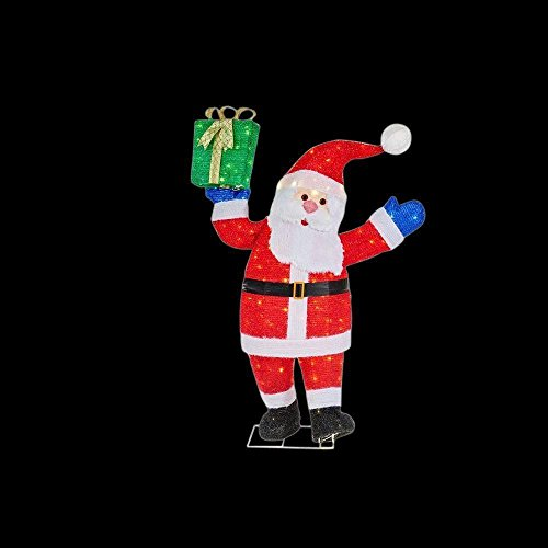 48 in. LED Lighted Tinsel Santa w Gift Box by Home Accents