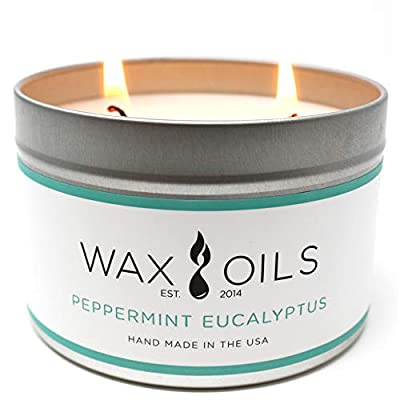 Wax and Oils Soy Wax Aromatherapy Scented Candles (Peppermint Eucalyptus) 16 ounces. Single - PEPPERMINT EUCALYPTUS 16oz - Just inhaling peppermint essential oil can help clear your head and your thoughts. Made by combining the essential oils, Cedarwood, Eucalyptus, Patchouli and Peppermint. It also known to clear up sinuses and help with coughs, this blend produces an effective solution to any of these discomforts. A sweet minty eucalyptus, pleasing and soothing. HANDMADE IN THE USA - with Soy Wax and Cotton Core Wicks.  Each candle is hand poured with only premium Wax & Oils.  Our candles are 100% Soy based. They do not contain paraffin, petroleum, animal or beeswax products. ECO-FRIENDLY - Wax & Oil candles are free from any harmful chemicals or additives. They contain NO pesticides, NO herbicides, and NO genetically modified materials.  Our Packaging is 100% recyclable and the foam inserts are made from 65% recycled ingredients. - living-room-decor, living-room, candles - 414Jtocp%2B8L. SS400  -