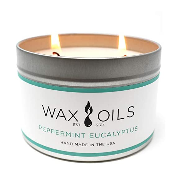 Wax and Oils Soy Wax Aromatherapy Scented Candles (Peppermint) 16 Oz. - PEPPERMINT EUCALYPTUS 16oz - Just inhaling peppermint essential oil can help clear your head and your thoughts. Made by combining the essential oils, Cedarwood, Eucalyptus, Patchouli and Peppermint. It also known to clear up sinuses and help with coughs, this blend produces an effective solution to any of these discomforts. A sweet minty eucalyptus, pleasing and soothing. HANDMADE IN THE USA - with Soy Wax and Cotton Core Wicks. Each candle is hand poured with only premiumWax & Oils.Our candles are 100% Soy based.They do not contain paraffin, petroleum, animal or beeswax products. ECO-FRIENDLY - Wax & Oil candles are free from any harmful chemicals or additives. They contain NO pesticides, NO herbicides, and NO genetically modified materials. Our Packaging is 100% recyclable and the foam inserts are made from 65% recycled ingredients. - living-room-decor, living-room, candles - 414Jtocp%2B8L. SS570  -