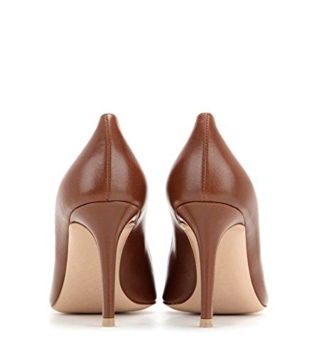 Schuhe Womens On Handmade Patent 80 Matte Pumps Slip mm Spitzschuh Court EDEFS Brown Spring 0UwHWqq