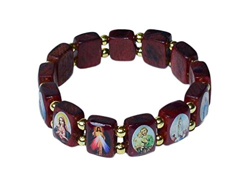 mall Square Catholic Saints Bracelet, Assorted Catholic Images, 2.5 Inch (Catholic Saints Bracelet)