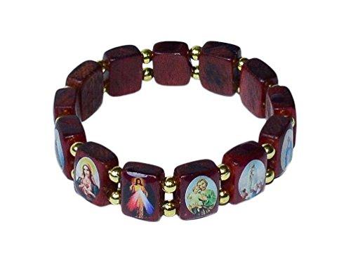 Elasticated Wooden Saints Bracelet by Catholica Shop | Small Panels | Catholic Images (Wood Wooden Bracelets)