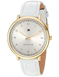 Tommy Hilfiger Women's 'SPORT' Quartz Gold-Tone and Leather Casual Watch, Color:White (Model: 1781763)