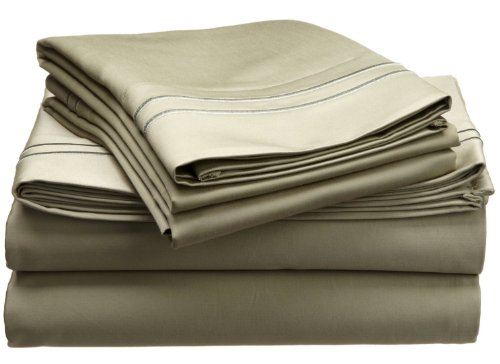 800 Thread Count, 100% Egyptian Cotton, Single Ply, Deep Pocket Sheet Set, King, Sage with Sage Embroidery (Sheet Set King Single)