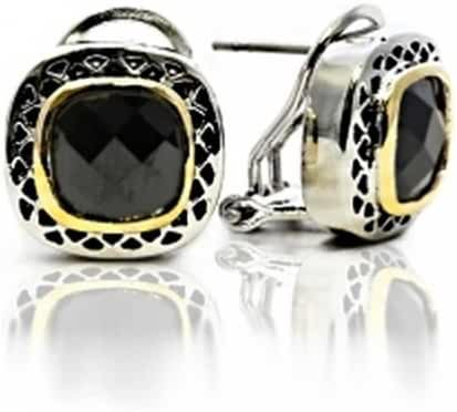 Bling Jewelry Black CZ Two Tone Square Cushion Omega Earrings Gold Plated