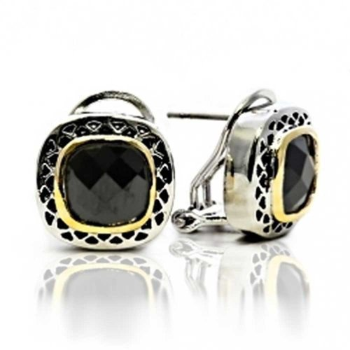 (Black Onyx Cubic Zirconia Two Tone Square Cushion Omega Earrings For Women Silver Gold Plated Brass)