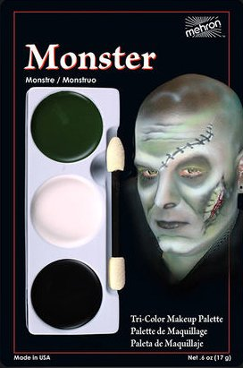 Mehron Makeup Tri-Color Halloween Makeup Palette (Monster)
