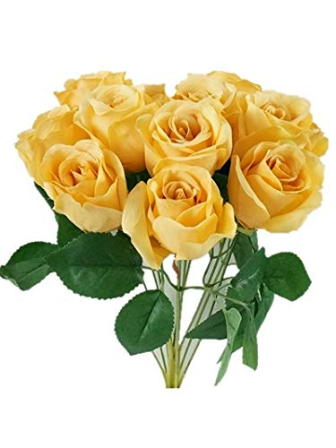 Sweet Home Deco 16'' Silk Rose Artificial Flower Bouquet (12 Stems/12 Flowers) Wedding Home Decorations (Yellow) (Flower Yellow Golden)