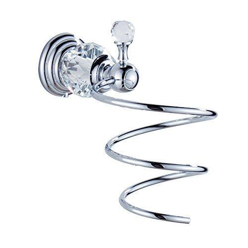 Beelee BA5212C Chrome Hair Dryer Holder Clear Crystal Glass Wall Mounted Bathroom Shelf