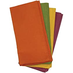 Aunt Martha's Fall Collection Dinner Napkins, Set of 4, Orange, Green, Yellow And Purple