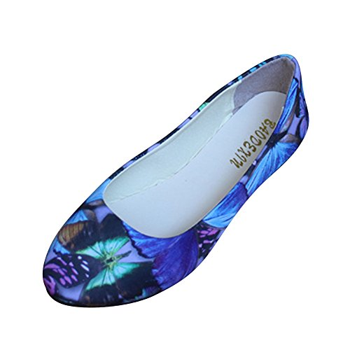 Peking Mary Flats Floral Office Jane Strap Work Print Womens Old Casual Ladies Blue Shoes Shoes MISSMAO 1txOwzvF