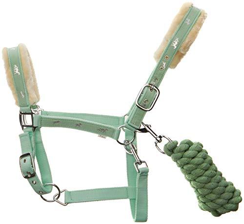 - Cwell Equine New Horse Print Fur Padded headcollars Halter + Matching Lead Mint Green F/C/P (Pony)...