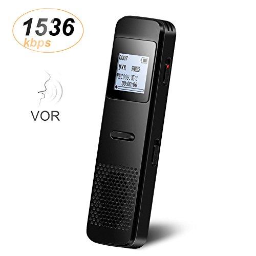 Grabadora de Voz Digital Portátil 8GB Recargable PCM 1536kbps con Función Altavoz y Mp3 para...