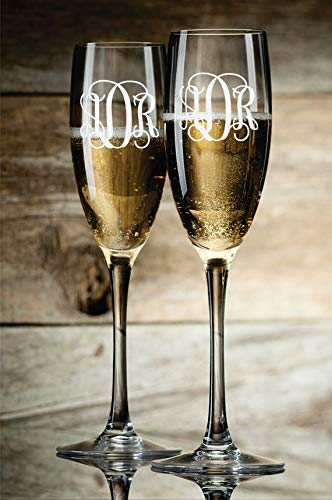 Set of 2 Personalized Wedding Champagne Flutes Glasses Custom Monograms Initials Letters Champagne Toasting Glasses For ()