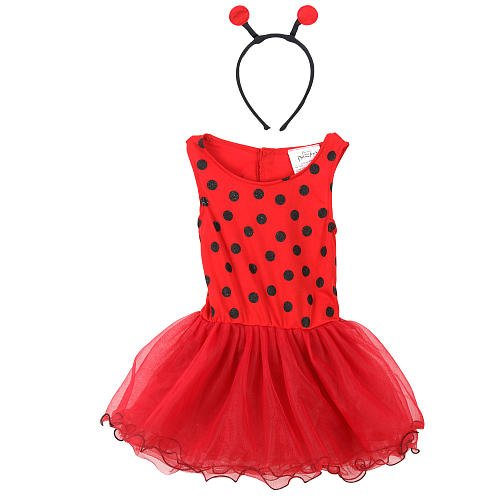 Dazzler Costume (Dream Dazzlers Toddler Ladybug Red Costume Pretend Play Wings Headband Size 2-4)