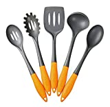 Deiss ART 5-piece Nylon Utensil Set - Soup Ladle, Slotted Turner, Spaghetti Server, Serving Spoon, Slotted Serving Spoon - Soft Ergonomic Handle - Safe for Non-stick Cookware