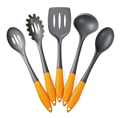 Deiss Art 5-Piece Nylon Utensil Set - Soup Ladle, Slotted Turner, Spaghetti Server, Serving Spoon, Slotted Serving Spoon - Safe for Non-Stick Cookware