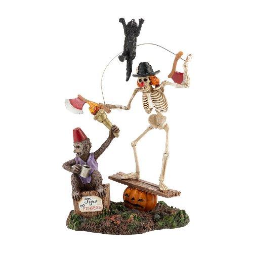Funny Bones Skeleton Clown Circus Figurine Dept 56 Halloween Village Accessory]()