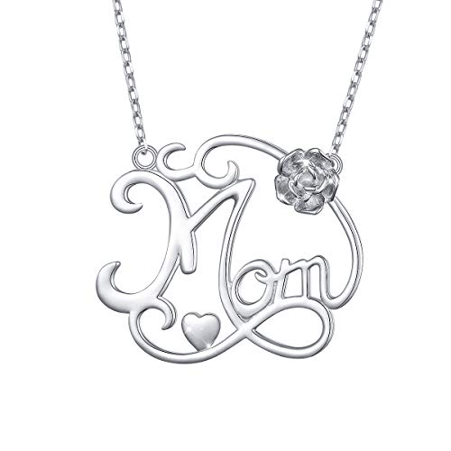 S925 Sterling Silver Mom Flower Pendant Necklace for Mother Mama Mommy Mum Birthday Gift Jewelry