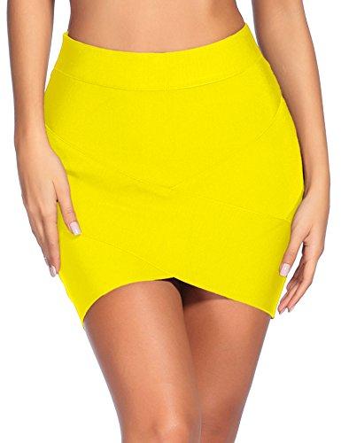 Madam Uniq iFashion Women's Sexy Rayon Bandage Bodycon Slim Fit Party Mini Skirt Medium Yellow