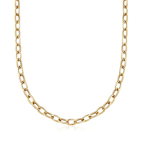 Ross-Simons Italian 14kt Yellow Gold Textured and Polished Cable-Link Necklace