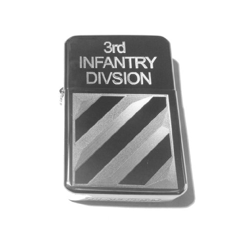Price comparison product image Vector KGM Thunderbird Custom Lighter - United States Armed Forces 3rd Infantry Division Unit Logo Hi Polish Silver Chrome Rare!