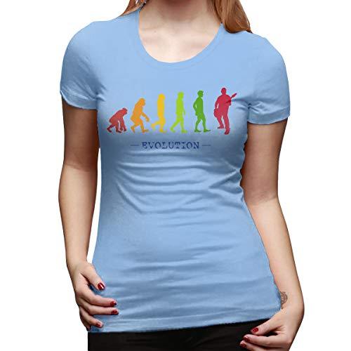 Burton Edith Guitar Player Evolution Guitarist Musician Women's Short Sleeve T Shirt Color Sky Blue Size 30