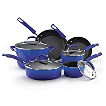 Premium Ocean Blue Cookware Set 10 Piece RACHAEL RAY Nonstick Hard Porcelain Enamel Cookware Oven Safe, PFOA-free,Dishwasher Safe, Food Network Featured