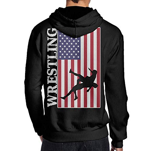BB&YYY USA Flag Wrestling Mens' Pullover Hoodie Sweatshirt Back Print Hoodies by BB&YYY