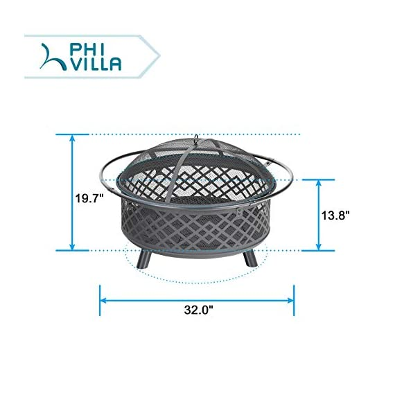 """PHI VILLA 32"""" Fire Pit Large Steel Patio Fireplace Cutouts Pattern with Poker & Spark Screen - ❤32"""" Fire Pit With Screen: Measures Dia.32"""" x H19.7"""". Approx 25 pounds. Lightweight and portable to move by catching the iron ring around ❤Spark Guard/Poker/Steel Net: Heavy-gauge spark screen protects you and your guests from sporadic flames and embers, offering an extra layer of safety. The poker helps you remove the spark screen and move logs more easily. Additional steel net is included to support the wood and let the air in beneath ❤Deep Steel Bowl: Large, deep-drawn steel bowl accommodates large fires for added warmth and convenience. Stable steel construction and heat-resistant painting keep the fire pit long lasting. Decorative lattice design cutouts for better flame visibility - patio, outdoor-decor, fire-pits-outdoor-fireplaces - 414JyDwbGbL. SS570  -"""