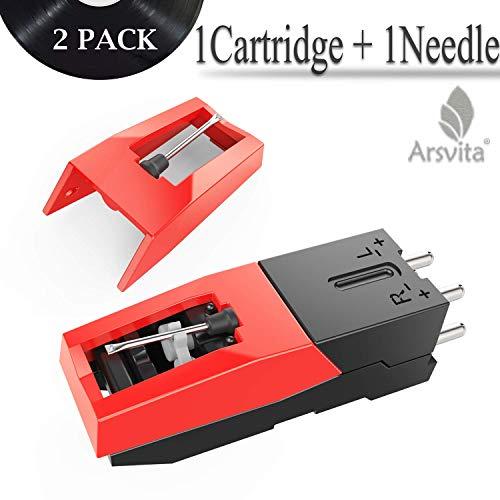 Arsvita Record Player Cartridge,Diamond Stylus Needles Replacement for Turntable, LP,Phono/Phonograph(2 Pack)