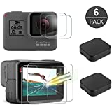 [6 Pack] Tempered-Glass Screen Protector for GoPro Hero 5 Black Hero 6 Black (2-Pack) & Lens protector (2-Pack) & Lens Cap Cover (2-Pack) By Akwox