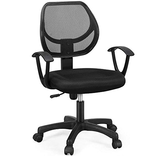 Yaheetech Desk Computer Office Chair with Armrest Home Work Chair Task Conference Office Ergonomic Furniture Black