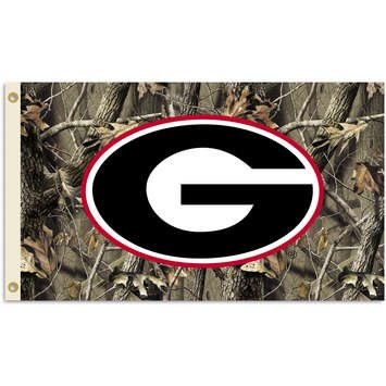 95407 - Georgia Bulldogs 3 Ft. X 5 Ft. Flag W/Grommets - Realtree Camo Background (Man Cave Georgia)