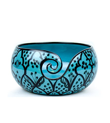 Ceramic Attractively Hand Painted Gorgeous Stoneware Yarn Ball Storage Bowl With Innovative Dispensing Curl | Knitting & Crochet Accessions | Nagina International (Large, Greek Blue) by Nagina International