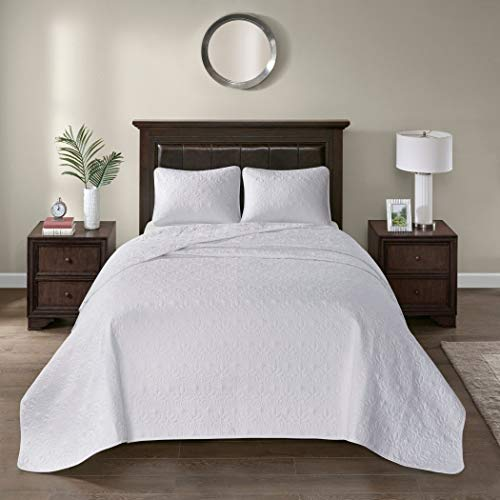 3 Piece Oversized King Bedspread to the Floor Set, Solid White Warm Tone, 120 Inches X 118 Inches, Coverlet Allover Quilt Drops Over Edge of King Beds, Microfiber, Stylish and - X 118 Oversized Quilt 120