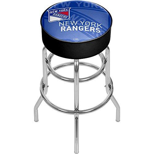 Trademark Gameroom NHL1000-NYR-WM NHL Chrome bar Stool with Swivel - Watermark - New York Rangersa