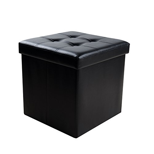 Sable Storage Ottoman, 15'' Cube Foldable Bench, Faux Leather Foot Rest Stools for Bedroom and Living Room, Black by Sable