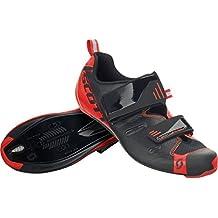 Scott 2017 Mens Road Tri Pro Bike Shoes - 251821 (Black/Neon Red Gloss - 42)
