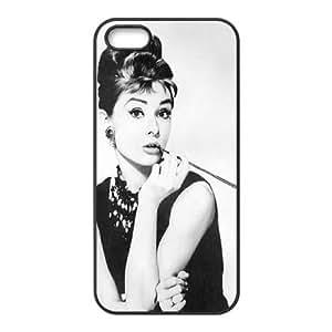 wugdiy Custom Hard Plastic Back Case Cover for iPhone 5,5S with Unique Design Audrey Hepburn