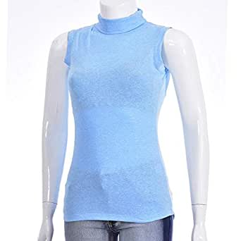 LADIES SLEEVE LESS HIGH NECK TSHIRT