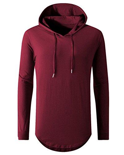 OLRIK Men's Hip Hop Long Sleeve Swag Hooded Longline Tee shirts Wine - For Men Balmain