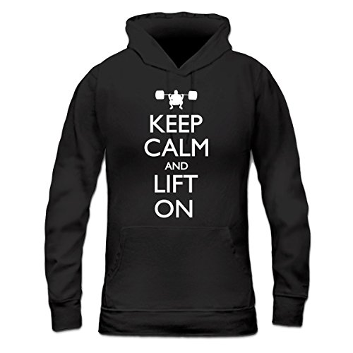 Sudadera con capucha de mujer Keep Calm and Lift on by Shirtcity Negro