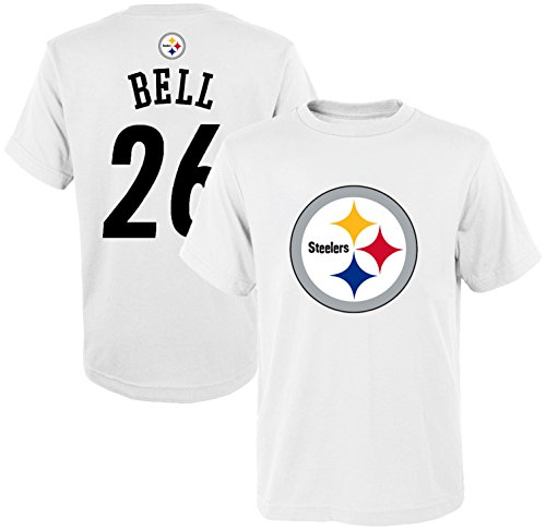 OuterStuff NFL Youth 8-20 Mainliner White Player Name and Number Jersey T-Shirt (Medium 10/12, Le'Veon Bell)