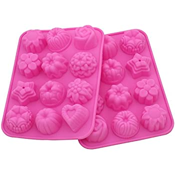 Zicome 2 Pack Flower Shaped Silicone Mold for Bath Bomb Soap Chocolate Candy Making