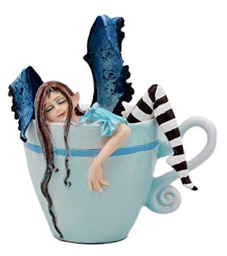 Ebros Gift Amy Brown Teacup Latte Coffee Drunk Fairy Figurine Fantasy Mythical Faery Magic Watercolor Collectible Decor Statue Gift Ideas for Women Teen Girls Fairy Garden DIY Art -
